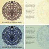 Set of vintage invitation cards on baroque style Royalty Free Stock Images