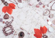 Set Vintage Jewelry For Women. Royalty Free Stock Photo