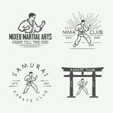 Set of vintage karate or martial arts logo, emblem, badge, label. And design elements in retro style. Illustration Stock Image