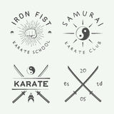 Set of vintage karate or martial arts logo, emblem, badge, label and design elements in retro style. Illustration Royalty Free Stock Photo
