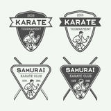 Set of vintage karate or martial arts logo, emblem, badge, label. And design elements in retro style. Illustration Stock Photography