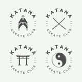 Set of vintage karate or martial arts logo, emblem, badge, label Royalty Free Stock Image