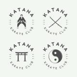 Set of vintage karate or martial arts logo, emblem, badge, label Royalty Free Stock Image