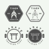 Set of vintage karate or martial arts logo, emblem, badge, label. And design elements. Vector illustration Stock Image