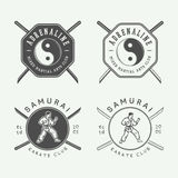 Set of vintage karate or martial arts logo, emblem, badge, label. And design elements. Vector illustration Royalty Free Stock Image