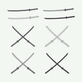 Set of vintage katana swords in retro style. Royalty Free Stock Image