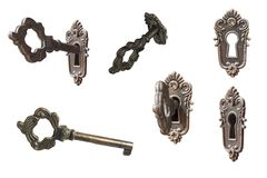 Set of vintage key and key hole in white isolated stock photography
