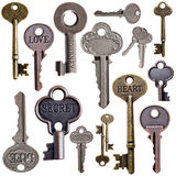 Set of vintage keys Stock Photos
