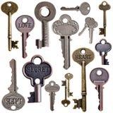 Set of vintage keys. On isolated white background Stock Photos
