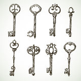 Set of vintage keys drawings Stock Images