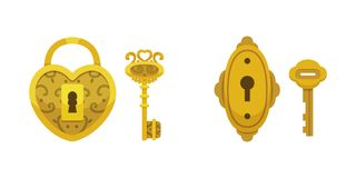 Set of vintage keys and locks. Vector illustration cartoon padlock. Secret, mystery or safe icon. Set of vintage keys and locks. Vector illustration cartoon vector illustration