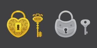 Set of vintage keys and locks. Vector illustration cartoon padlock. Secret, mystery or safe icon. Set of vintage keys and locks. Vector illustration cartoon royalty free illustration