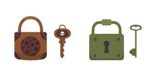 Set of vintage keys and locks. Vector illustration cartoon padlock. Secret, mystery or safe icon. Set of vintage keys and locks. Vector illustration cartoon stock illustration