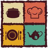 Set of Vintage kitchen elements Royalty Free Stock Images