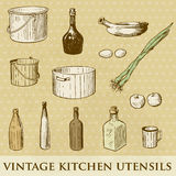 Set of vintage kitchen utensils Royalty Free Stock Images