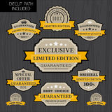 Set of vintage label design with yellow ribbon template Royalty Free Stock Photography
