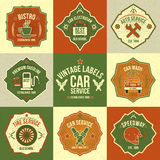 Set of vintage labels auto service. Bright contrasting colors. Non-standard forms Stock Images