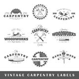 Set of vintage labels carpentry Royalty Free Stock Images