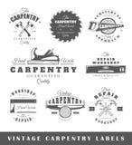 Set of vintage labels carpentry Stock Images