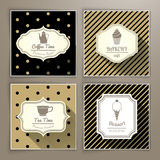 Set of vintage labels coffee bakery tea and dessert Royalty Free Stock Photo