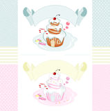 Set of vintage labels with a fairy house-shaped cake Royalty Free Stock Photo