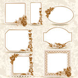 Vintage labels. Set of vintage labels. Frame with flowers. Sepia Stock Photography