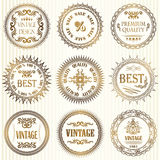 Set of vintage labels in gold Stock Image