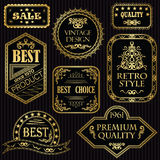 Set of vintage labels in gold Royalty Free Stock Photos
