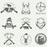 Set of vintage labels on hunting Royalty Free Stock Photo