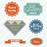 Set of vintage labels. Set of nine simple retro vintage and art deco labels Royalty Free Stock Photos