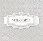 Set of  vintage labels over retro seamless pattern Royalty Free Stock Photography