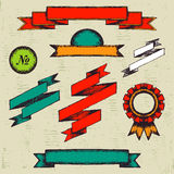 Set of vintage labels and ribbons. Geometric forms vector illustration