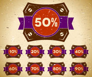 Set of vintage labels with sale percent Stock Photography