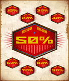 Set of vintage labels with sale percent Royalty Free Stock Images