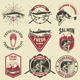 Set of vintage labels with salmon fish. Salmon fishing, salmon meat. Design elements for label, emblem for fishing club. Vector illustration Royalty Free Stock Photos