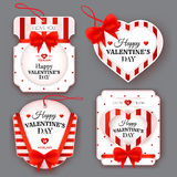 Set with vintage labels on Valentine's Day Stock Photos