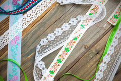 Set of vintage lace, tape and ribbons Stock Photos