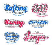 Set of vintage lettering logo  rafting, diving,  golf, ride off- Royalty Free Stock Image