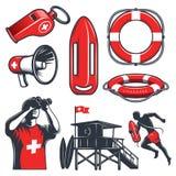 Set of vintage lifeguard elements. Set of vintage lifeguard coloured elements.  on white background Royalty Free Stock Image