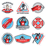 Set of vintage lifeguard emblems. Set of vintage lifeguard coloured emblems  on white background Royalty Free Stock Images