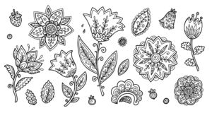 Set of vintage line art doodle style flowers, vector coloring book floral elements set vector illustration