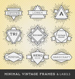 Set of vintage line frames and labels with sunburst. vector illustration