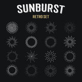 Set of  vintage linear sunbursts Stock Photography