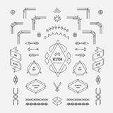 Set of vintage linear thin line art deco retro design geometric shape elements with frame corner. Badge royalty free illustration
