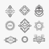 Set of vintage linear thin line geometric shape art deco retro d. Esign elements with badge Royalty Free Stock Photo