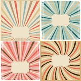 Set of 4 vintage lines background on paper texture Royalty Free Stock Images