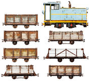 Set of vintage locomotive and cars isolated on white Stock Photography