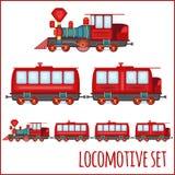 Set of vintage locomotives Stock Images