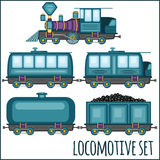 Set of vintage locomotives Stock Photography