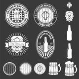 Set of vintage logo, badge, emblem or logotype elements for beer, shop, home brew, tavern, bar, cafe and restaurant Stock Images